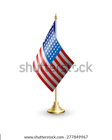 Vector isolated realistic illustration of the flag of the United States on a golden stand. Used as element for Web site, printed material, infographic, Independence Day, national holiday, Memorial Day - stock vector