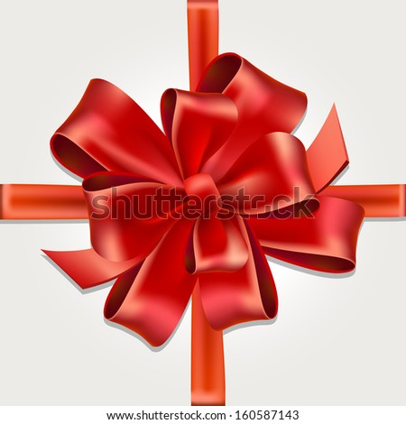 Vector Isolated Red Gift Bow with Ribbon - stock vector