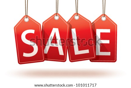 Vector isolated red hanging sales tags with optional ground shadow - stock vector