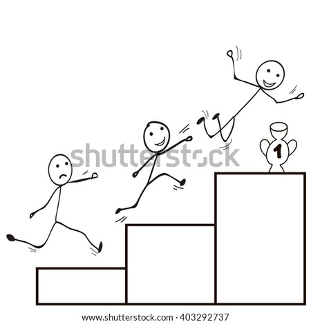 vector , isolated  Stick Figure man jump , the goal - stock vector