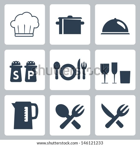 Vector isolated tableware icons set - stock vector