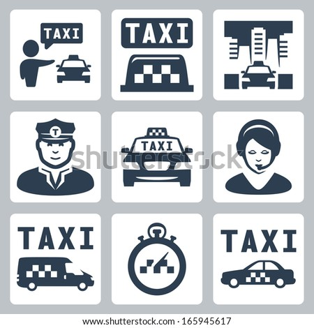 Vector isolated taxi icons set - stock vector