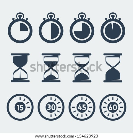 Vector isolated timers icons set - stock vector