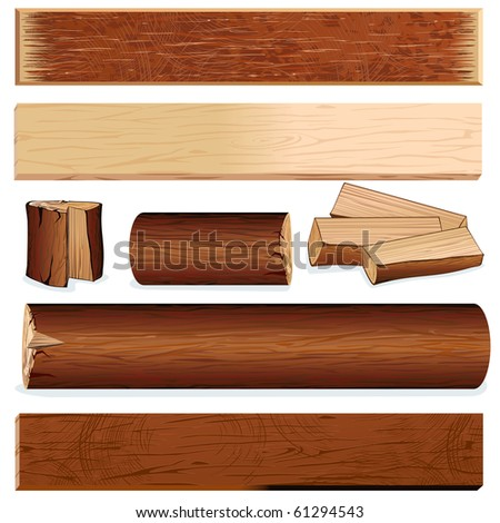 Vector isolated wooden objects for design, include log, plank, stump, firewood, slats, wood board and other carpenter  materials... - stock vector