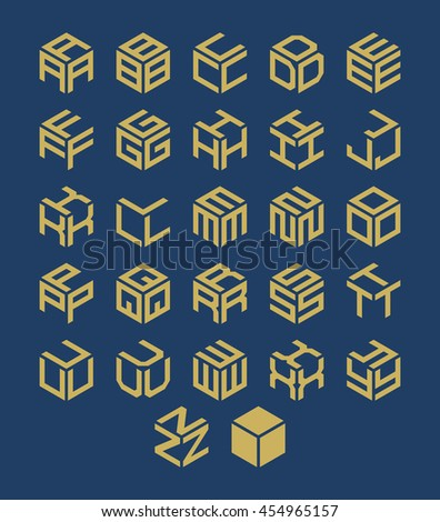 Vector isometric alphabet. Cubic font. - stock vector