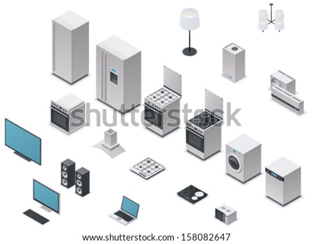 Vector isometric appliances set - stock vector