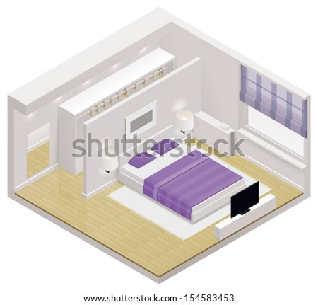 Vector isometric bedroom icon - stock vector