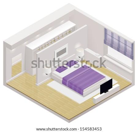 Vector isometric bedroom icon - stock vector