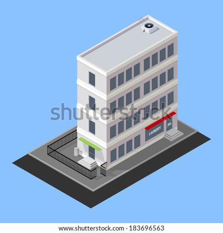 vector isometric building - stock vector