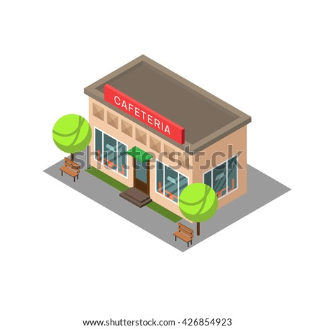 Vector isometric building cafeteria. Isometric icon or infographic element cafeteria on white background. - stock vector