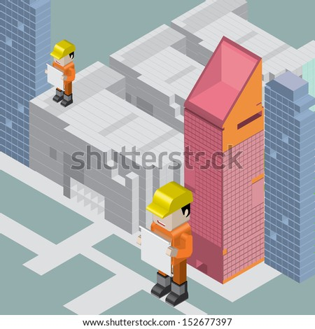 vector isometric building construction - stock vector