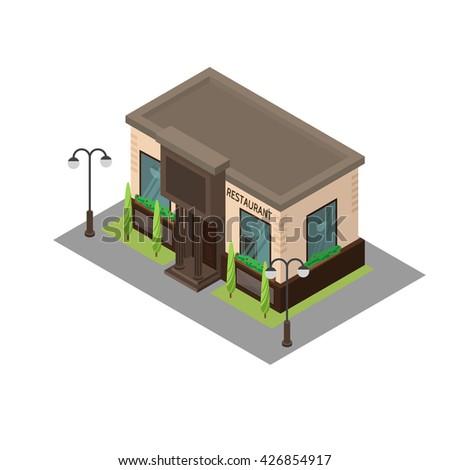 Vector isometric building restaurant. Isometric icon or infographic element restaurant on white background. - stock vector