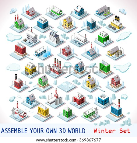 Vector isometric buildings Winter Snow Ice Nordic Villas Private Estate Set Flat 3D Urban City Map Isolated Elements Hotel Gardens Other Isometry Infographic Game Tiles MEGA Collection Jpg Eps 10 Jpeg - stock vector