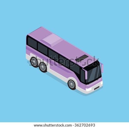 Vector isometric bus. Public transportation. Isometric bus icon. Isolated isometric bus. Detailed illustration of Isometric Bus in front top view. 3D isometric bus. Modern isometric tour bus. 3d bus - stock vector