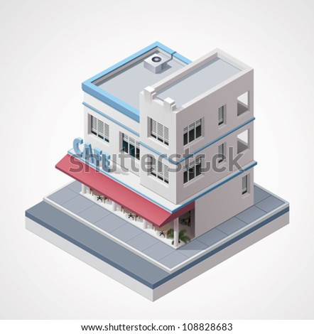 Vector isometric cafe - stock vector