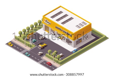 Vector isometric Car Service building icon - stock vector