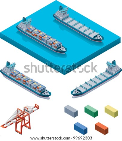 Vector isometric cargo container ship and crane - stock vector