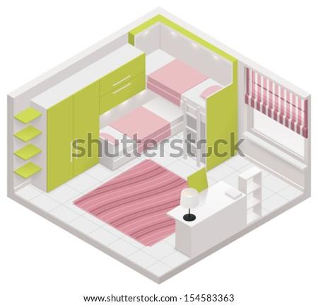 Vector isometric children room icon - stock vector