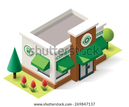 Vector isometric coffee shop building icon - stock vector