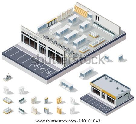 Vector isometric DIY supermarket interior plan - stock vector
