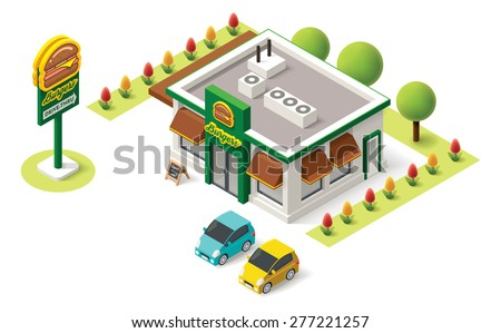 Vector isometric fast food building icon - stock vector