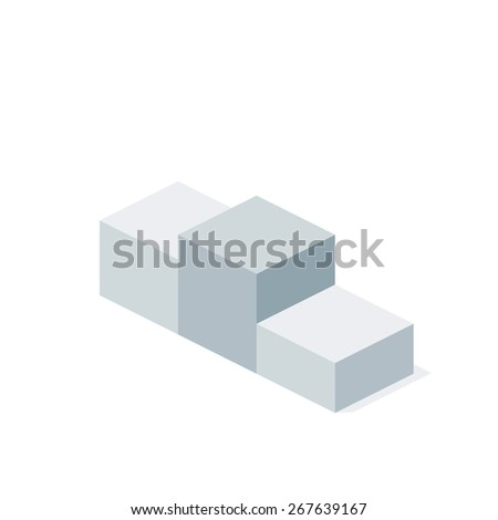 Vector Isometric First Place Podium Illustration. Business  Flat 3d Award Winner Concept. - stock vector