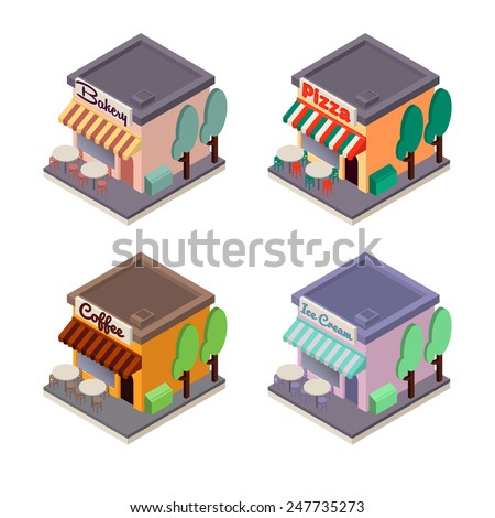 Vector isometric flat cafes and shop: pizza and coffee cafes and bakery, ice cream stores - stock vector
