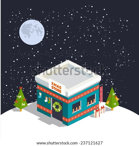 Vector isometric flat christmas store with trees  - stock vector