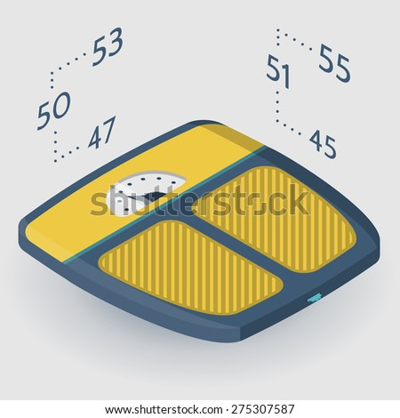 Vector isometric flat color design illustration of blue analogue floor scales with yellow elements on gray background with parameters weight. - stock vector