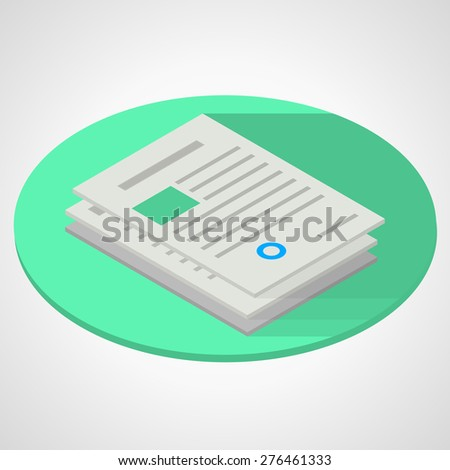 Vector isometric flat color design illustration of document papers on green circle on gray background. Long shadow design - stock vector