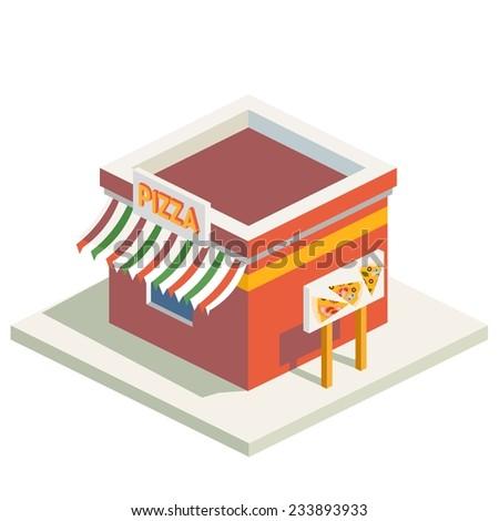 Vector isometric flat pizza building  - stock vector