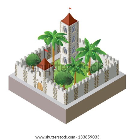 Vector isometric fortress surrounded by a wall with a garden - stock vector