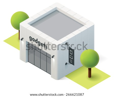 Vector isometric gadget store building icon - stock vector
