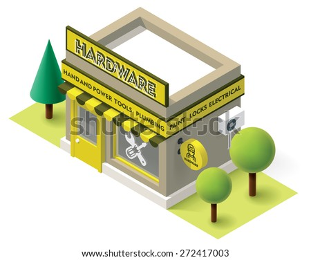 Vector isometric hardware shop building icon - stock vector