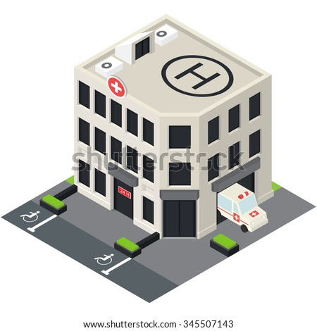 Vector isometric hospital building icon with emergency car and helipad on the roof. - stock vector