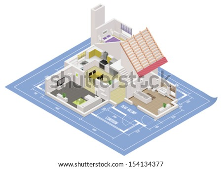 Vector isometric house cutaway icon - stock vector