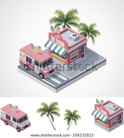 Vector isometric ice cream store and truck - stock vector