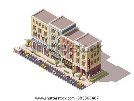 Vector Isometric icon or infographic element of the town street with tourism related buildings  with stores, shops and houses with cars, tree and street elements - stock vector
