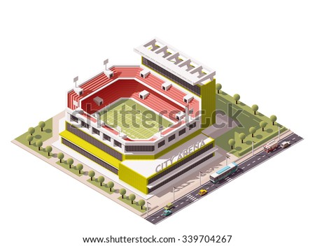 Vector isometric icon or infographic element representing American football sport arena. Stadium on the park and street with cars and bus - stock vector