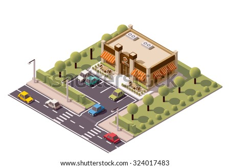 Vector Isometric icon or infographic element representing coffee shop, cafe, coffe-to-go restaurant building icon with car parking, street, road, and cars - stock vector