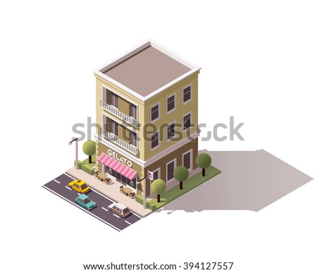 Vector Isometric icon or infographic element representing ice cream cafe building with cars, tree and town street elements - stock vector