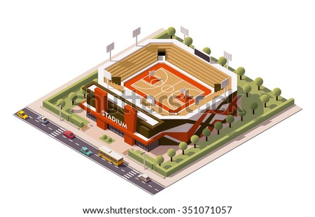 Vector isometric icon or infographic element representing low poly basketball stadium with cars and buses on the street - stock vector