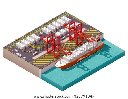 Vector isometric icon or infographic element representing low poly cargo port with cranes loading containers on the container ship, trucks, forklifts - stock vector