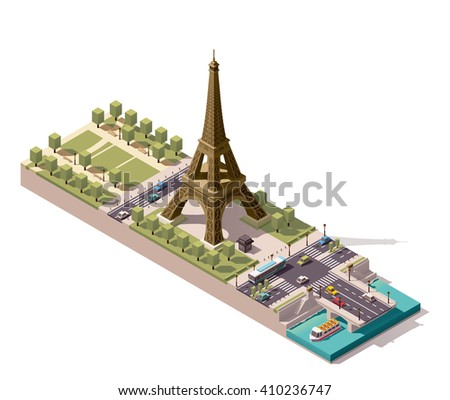 Vector isometric icon or infographic element representing  low poly Eiffel Tower on the Field of Mars and Jena Bridge over Seine river, Paris, France - stock vector