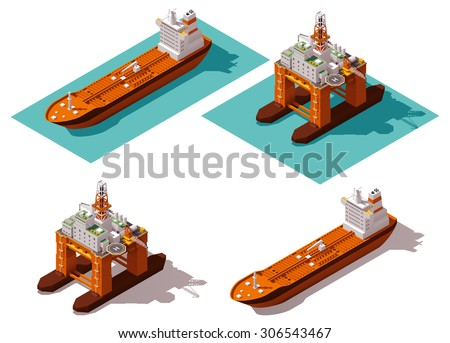 Vector isometric icon or infographic element representing low poly offshore oil platform and oil tanker ship - stock vector