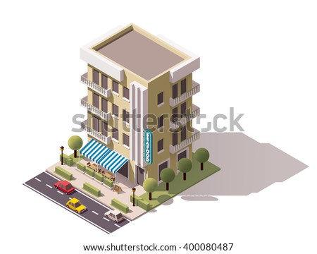 Vector isometric icon or infographic element representing low poly restaurant building with awnings, cars passing by the street - stock vector