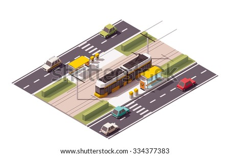 Vector isometric icon or infographic element representing low poly tramway approaching tram station on the street with cars and zebra road crossing - stock vector