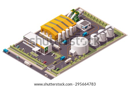 Vector isometric icon or infographic element representing low poly trash and garbage recycling plant with garbage trucks and sorting facility  - stock vector
