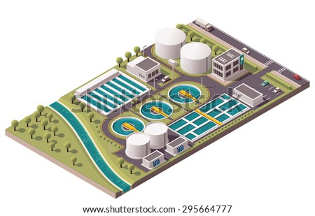 Vector isometric icon or infographic element representing low poly water treatment plant and related  facilities  - stock vector