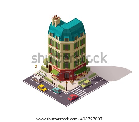 Vector isometric icon or infographic element representing Paris (France) old restaurant building with awnings, cars on the street nearby, underground metropolitan entrance - stock vector